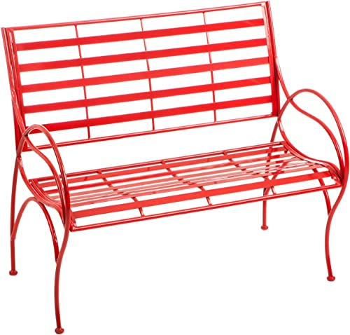 Cape Craftsmen Red Swirl Garden Bench – 22 x 42 x 36 Inches