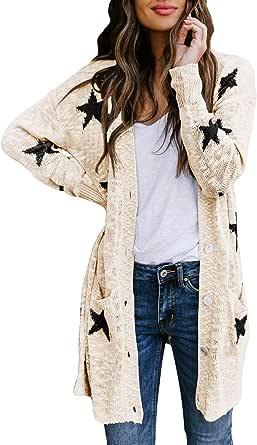 Viottiset Suéter de manga larga con parte delantera abierta para mujer Boucle