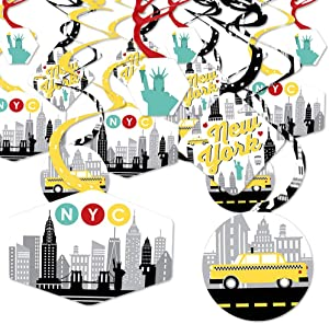 Big Dot of Happiness NYC Cityscape - New York City Party Hanging Decor - Party Decoration Swirls - Set of 40