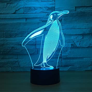 Amazon.com: Pingüino Animal 3d Visual de LED lámpara luz de ...
