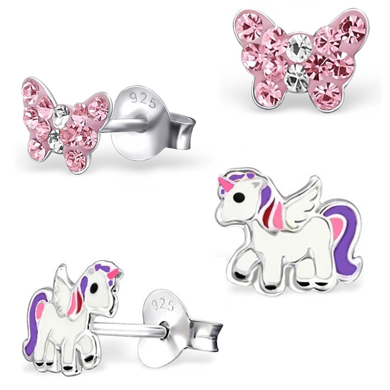 2 Paar Ohrstecker Kleine Kristall Schmetterling + Pegasus Einhorn 925 Echt Silber Sterlingsilber Mädchen Kinder Ohrringe GH-1a MN1809