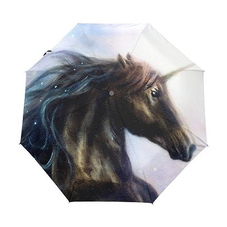 ALAZA Unicornio y estrellas Automóviles Viajes Abrir/Cerrar Paraguas con anti-UV a prueba