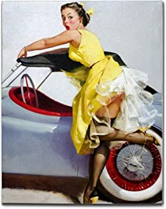SIMONO Yellow Dress Retro Vintage Pin Up Girls and Car Canvas Wall Art for Home Decor, 1940s Style Wall Artwork Bathroom Bedroom Living Room Wall Decoration Ready to Hang