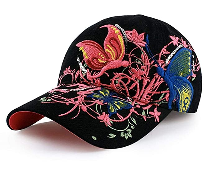 d242e1babcb Image Unavailable. Image not available for. Color  Embroidered Baseball Cap  - FeelMeStyle Floral Snapback Hip Hop Hat ...