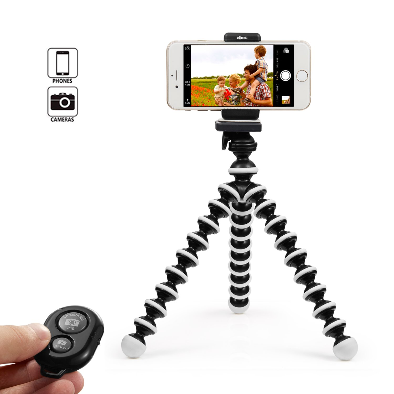 KCOOL Octopus Style Portable and Adjustable Tripod Stand Holder for iPhone, Cellphone,Camera with Universal Clip and Remote (Black White)