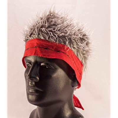 Red Barbed Wire Bandana with Gray Hair : Gag And Practical Joke Toys : Baby