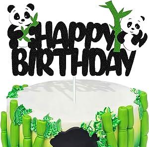 Panda Cake Topper Happy Birthday Bear Cake Decorations for Kids Girls Boys Panda Theme Birthday Baby Shower Party Supplies Double Sided Glitter Black Decor