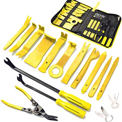 19Pcs Trim Removal Tool,Car Panel Door Audio Trim Removal Tool Kit, Auto Clip Pliers Fastener Remover Pry Tool Set with Storage Bag (Yellow): Automotive