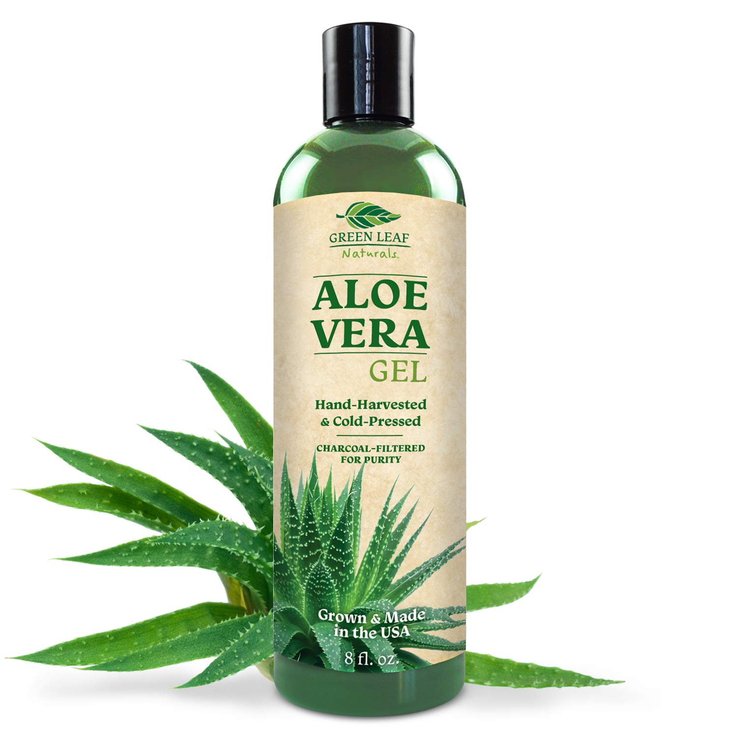 Green Leaf Naturals Organic Aloe Vera Gel, Pure Daily Moisturizer for Skin, Face and Hair, 8 ounce by Green Leaf Naturals