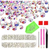 KUUQA 6300 PCS 8 Sizes Nail Crystals AB Rhinestones Nail Art Rhinestones Gems with Diamond Painting Tool Set for Nails Eye Makeup Decoration (Mix SS3 4 5 6 810 12 16)