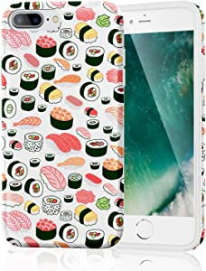 iPhone 8 Plus Case, Slim-Fit Anti-Scratch IMD Soft TPU Cover with Design Pattern for iPhone 7 Plus/iPhone 8 Plus (Seamless Sushi Sashimi Pattern)