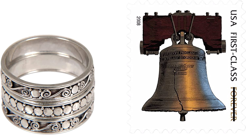 NOVICA .925 Sterling Silver Handmade Stacking Rings Set of 3 Together