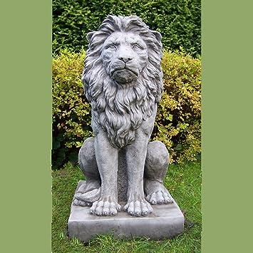 852852da5619c Décorations de Jardin par Onefold Ls4 Grande Pierre Proud Lion Statue de  Jardin, Gris,