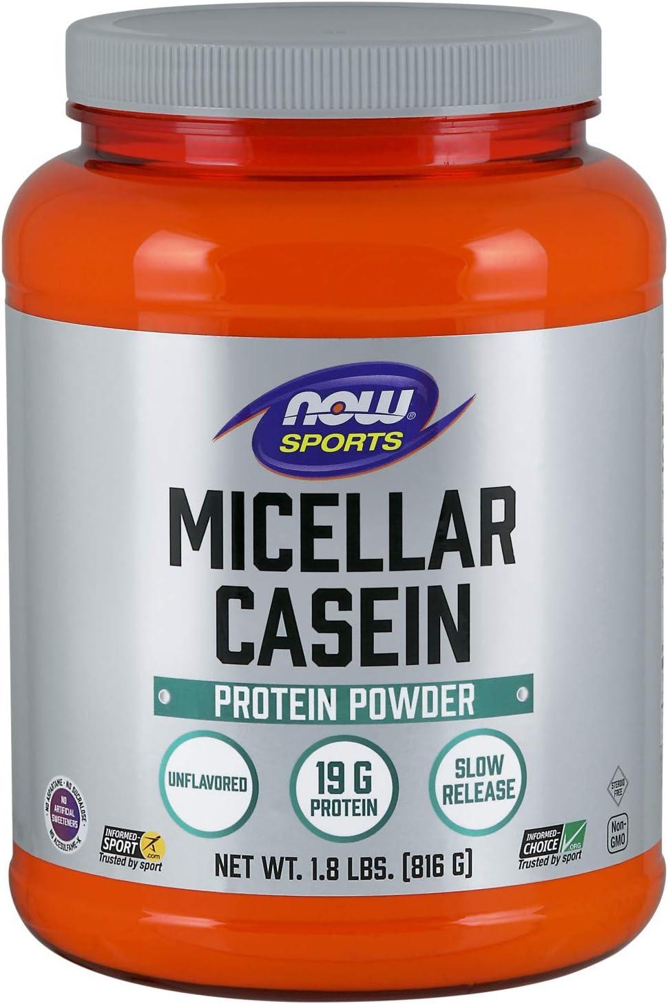 NOW Sports Nutrition, Micellar Casein 19 G, Slow Release, Unlfavored Powder, 1.8-Pound