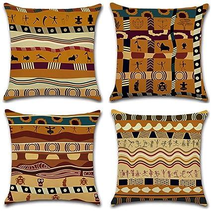 Divano Etnico Cuscini.Gspirit Federe Stile Etnico Africano 4 Pack Cuscini Per Divani Decorativo Cotone Biancheria Cuscino Copricuscini Divano Caso Federa Per Cuscino 45x45