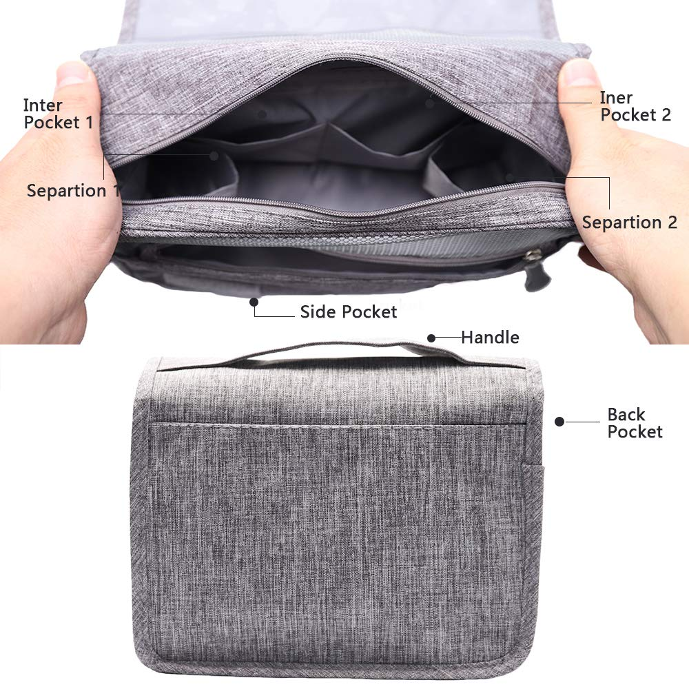 Hanging Toiletry Bag Water Resistant, Travel Wash Bags Cosmetic Bags with 8 Pouches, Bathroom Shower Organizer Portable Durable for Men and Women (Grey)