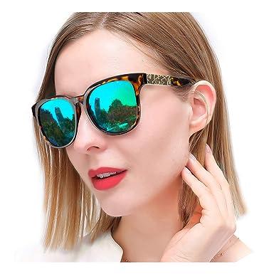SIPHEW Gafas de Sol Polarizadas para Mujer, Gafas de Sol de Moda Reflejado con Protección 100% UVA/UVB