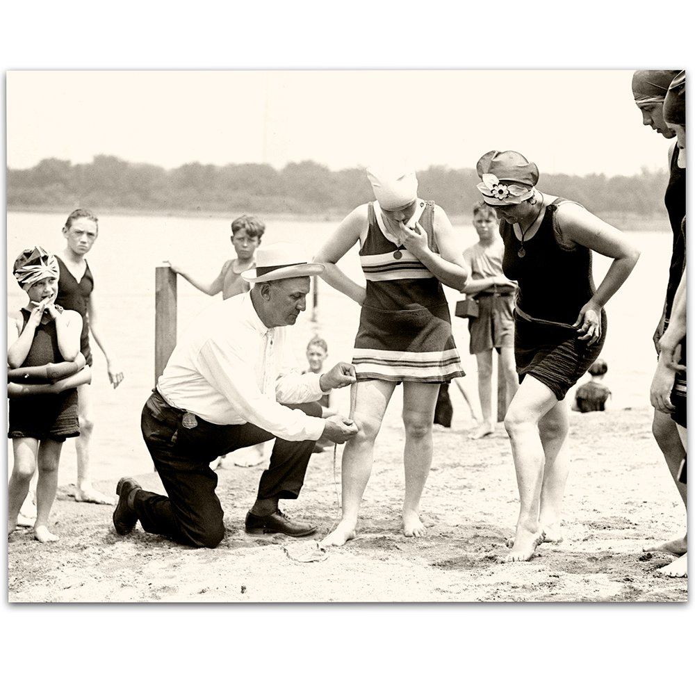 Lone Star Art The Bathing Suit Cop - 11x14 Unframed Print - Perfect Vintage Beach Home/Lake House Decor Under $15