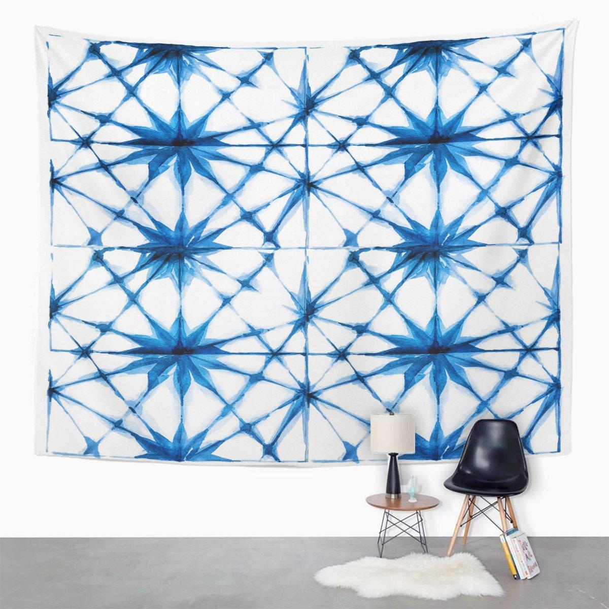 Amazon Emvency Tapestry Blue Watercolour Watercolor Shibori Indigo Pattern Japanese Tie Dye Home Decor Wall Hanging For Living Room Bedroom Dorm 60x80