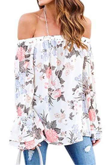 f5a97f4cc07712 Amazon.com  Women s Floral Print Long Bell Sleeve Off The Shoulder Casual  Shirts Blouse Top  Clothing
