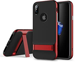 Rock Royce Stand Series Case, Dual Layer PC+TPU with Kickstand Shockproof Thin & Slim Case for iPhone X (Color : Red)
