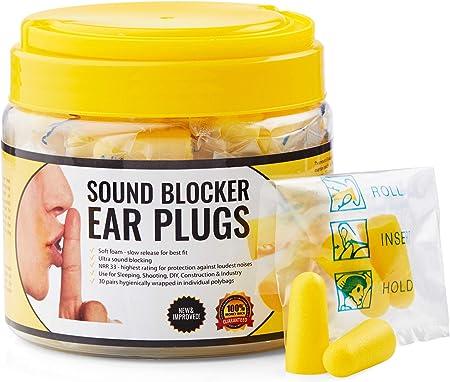 Bouchons d/'oreilles anti-bruitCes bouchons d/'oreilles offrent une protection auditive lors des concerts etc.30 paires r/éutilisables emball/és individuellement. s/éances de tir sports m/écaniques