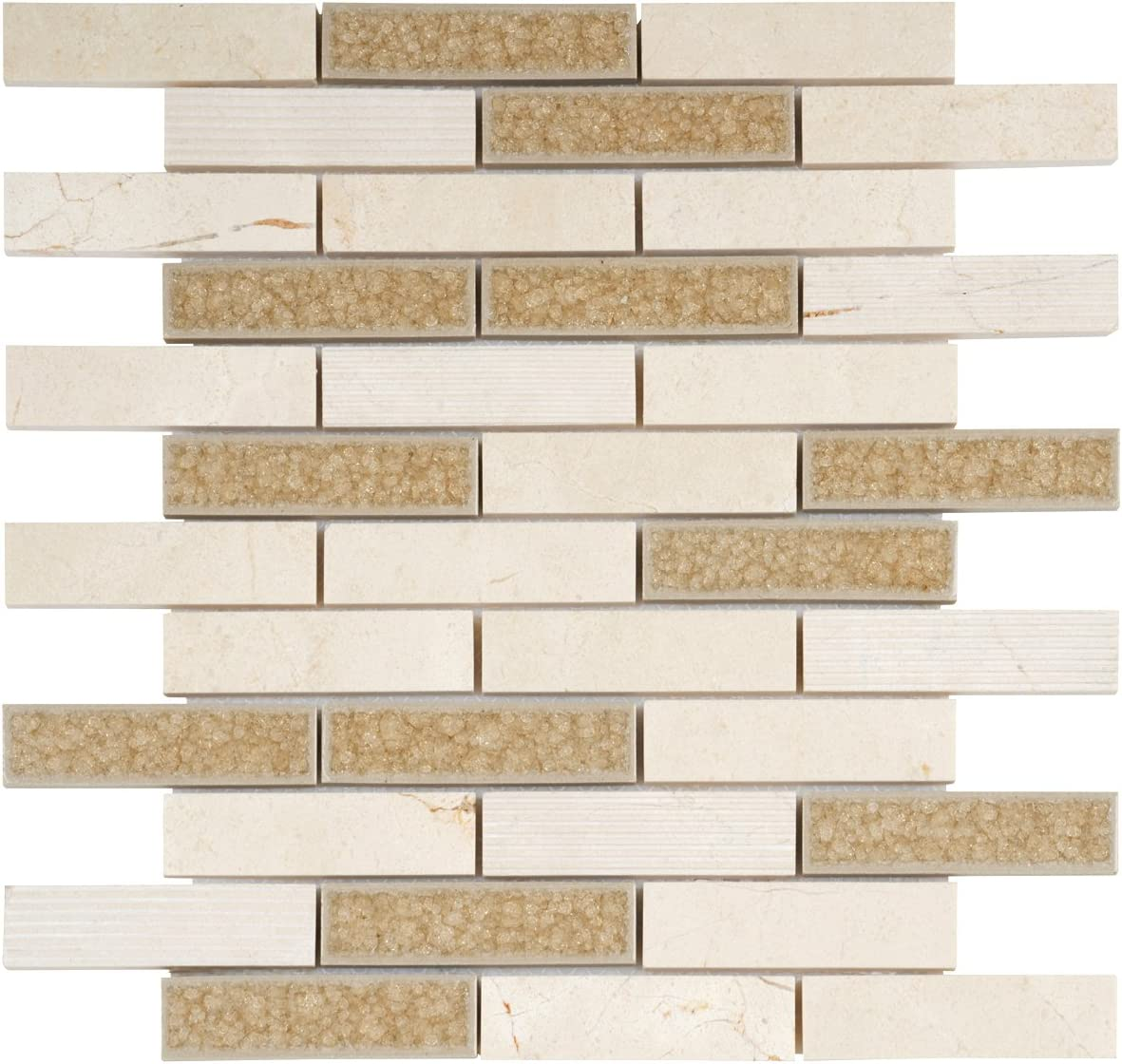 - Modket TDH45MO Beige Cream Crema Marfil Marble Mosaic Tile