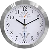 hito Modern Silent Wall Clock Non Ticking 10 inch Excellent Accurate Sweep Movement Silver Aluminum Frame Glass Cover…