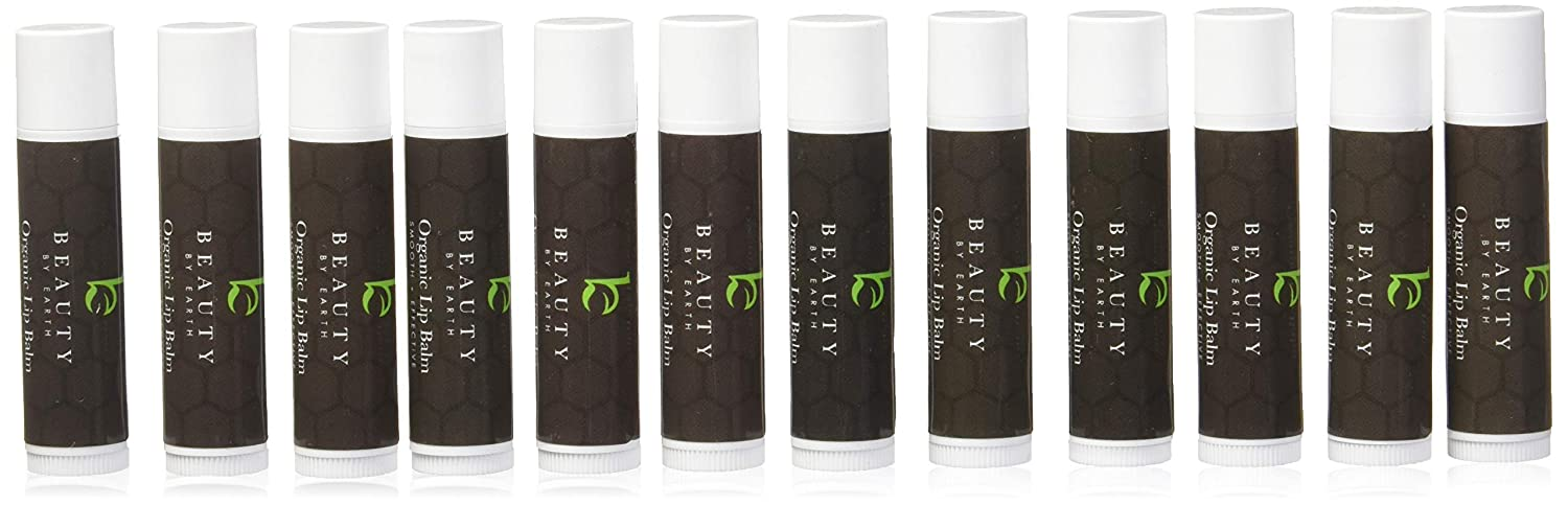 Organic Lip Balm Gift Set, 12 Pack of Long Lasting Pure Natural Beeswax Chapstick, Assorted Moisturizing Flavors for a Clear Glossy Finish and Soft, Lush Lips Beauty by Earth