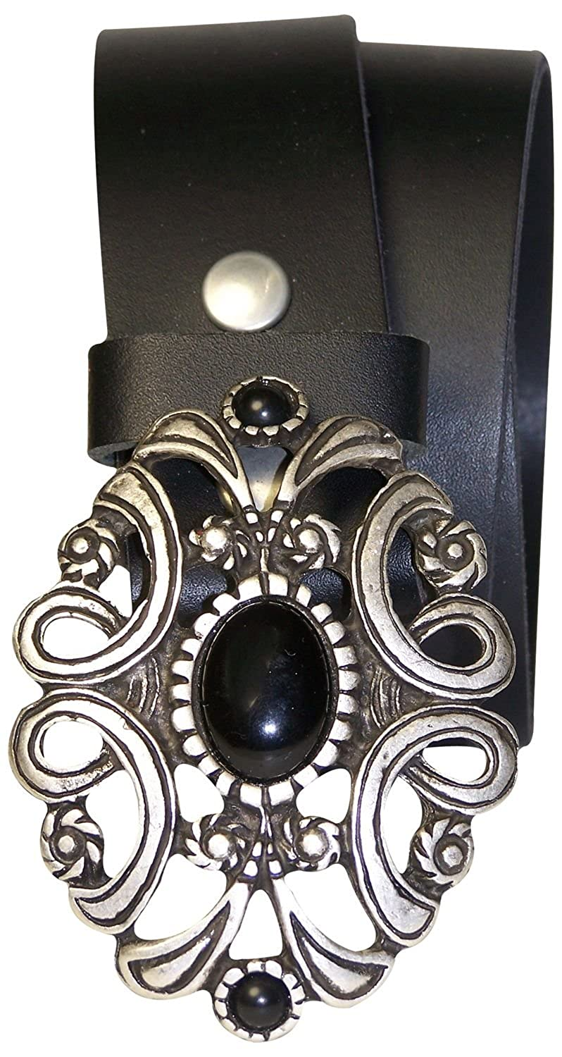 FRONHOFER Ladies belt antique silver buckle black stone real cowhide leather