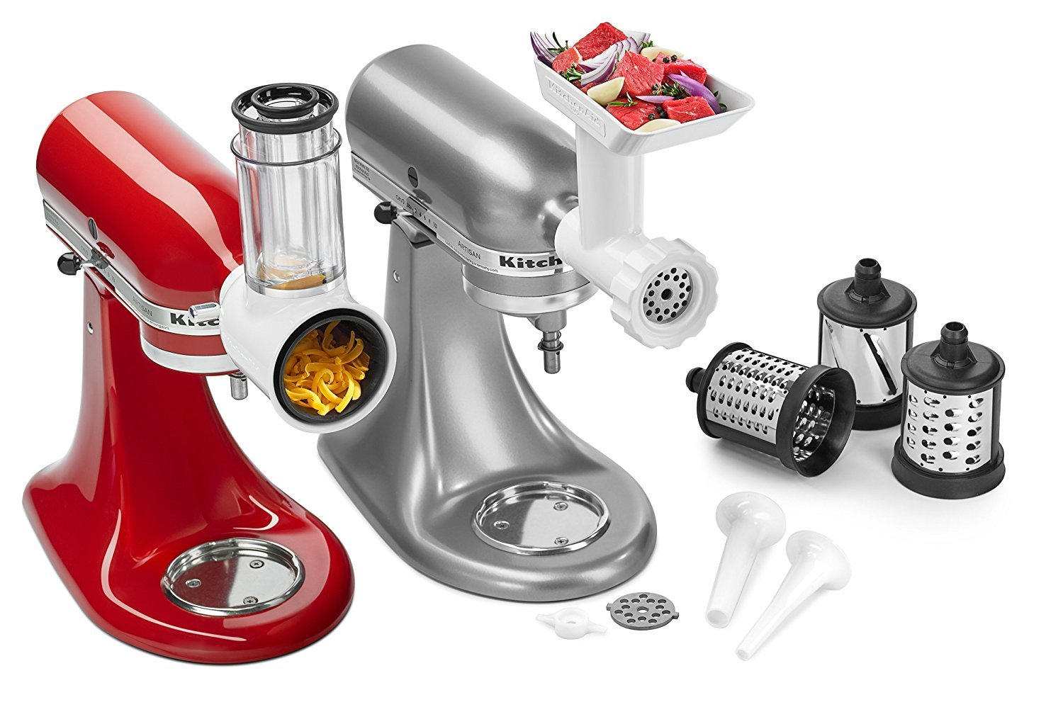 KitchenAid New 2017 Upgraded added Safety featured Standard Mixer Attachment Pack - (Works with all household Kitchenaid Stand Mixers Models) - Limited Stock Rotor Slicer Shredder - Food Grinder - Sausage Stuffer Parts
