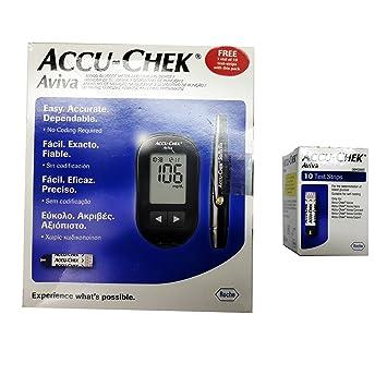 Amazon Accu Chek Aviva Blood Glucometer With 10 Test Strips 1