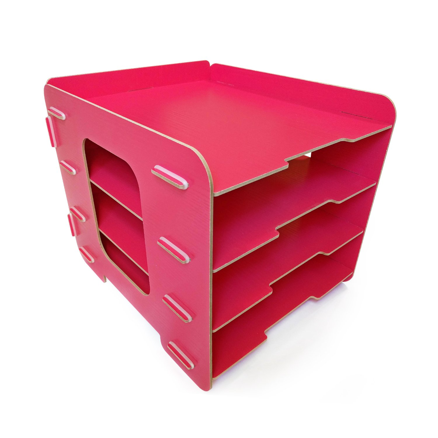 Watermelon Desk Paper Organizer Sturdy Wood Office Letter Tray! Easy Assembly A4 File Sorting 4 Tier