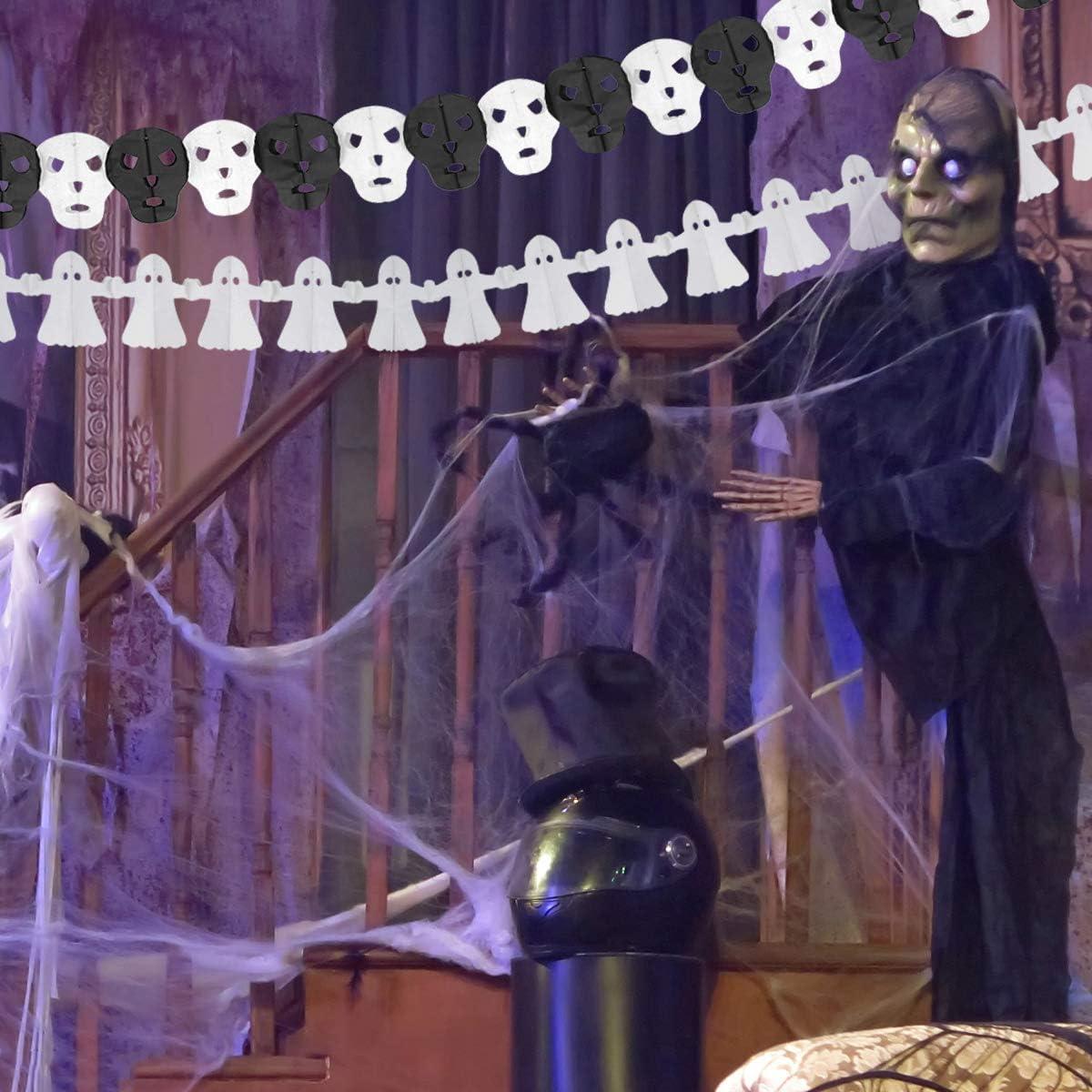 Pipistrelli Forniture per Feste di Halloween per Casa Stregata Party Decorazioni Ragni A Cranio e Fantasmi Banner Zucche Herefun 5 PCS Decorazione Halloween Banner