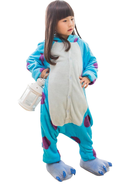 Pigiama Intero Animali Ragazza Bambini Pigiami Interi Stich Costumi Cosplay Blu Camicie da notte 3-8 Anni Sleepwear Con Cappuccio Caldo Tute Abbigliamento Anime Maglie Pigiama Adorabile