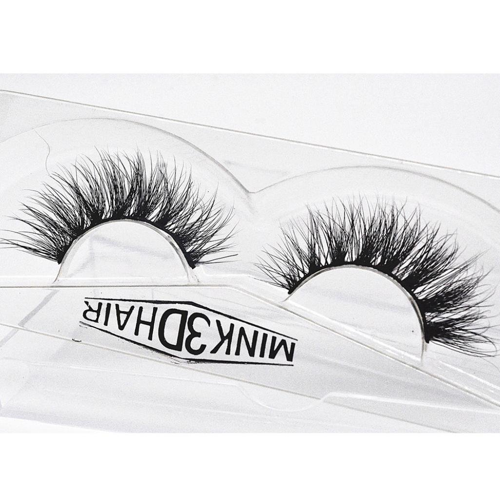 Moonuy Beauty Natural Party 1 Pair Luxury 3D Black Long Mink False Lashes Thick Fluffy Strip Eyelashes (Black A)