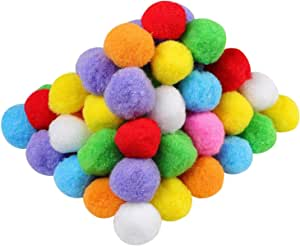 1.5 Inch Assorted Pom Poms for DIY Creative Crafts Decorations, Assorted Colors (100 Pack)