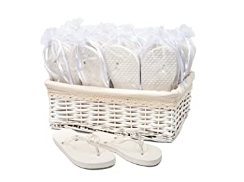 70fa53b7f Image Unavailable. Image not available for. Color  Wedding Party White Flip  Flop Guest ...