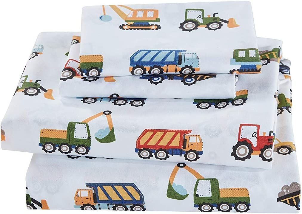 Elegant Homes Construction Site Equipment Trucks Tractors Cranes Excavators Design 3 Piece Printed Sheet Set with Pillowcases Flat Fitted Sheet for Boys/Kids # Construction Trucks (Twin Size)