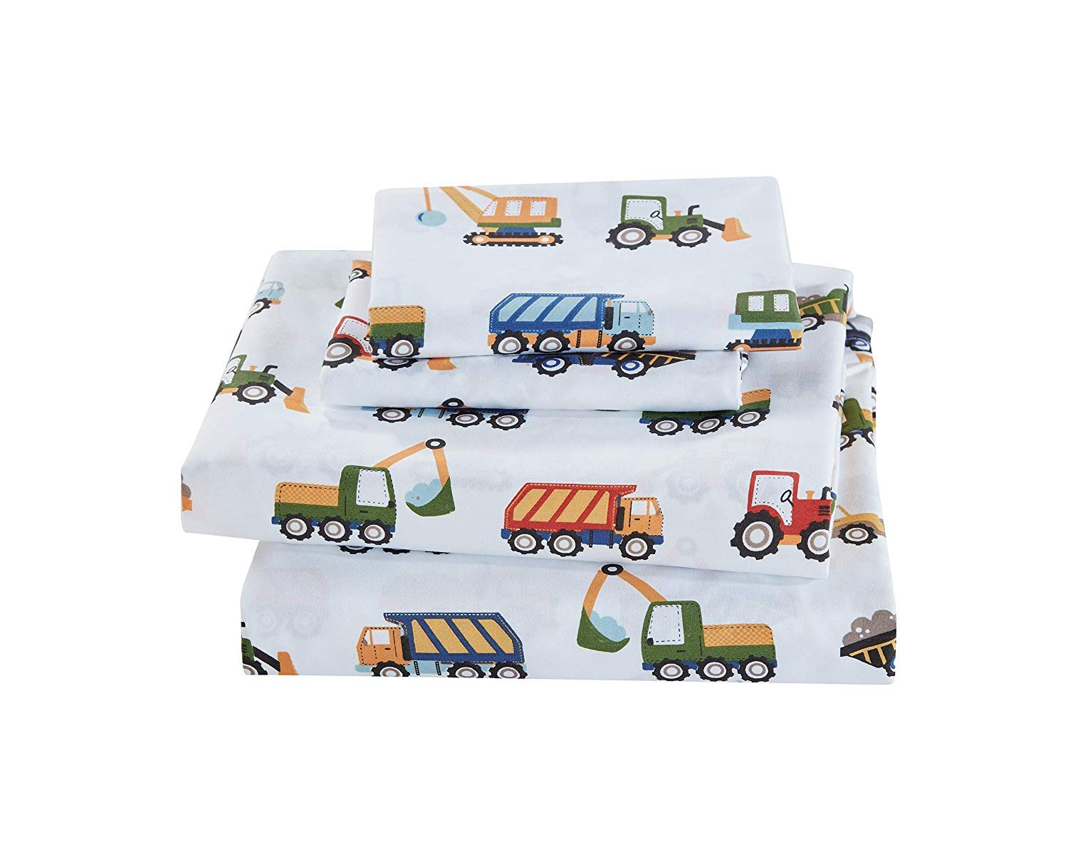 Elegant Homes Construction Site Equipment Trucks Tractors Cranes Excavators Design 4 Piece Printed Sheet Set with Pillowcases Flat Fitted Sheet for Boys/Kids # Construction Trucks (Full Size) by Elegant Homes