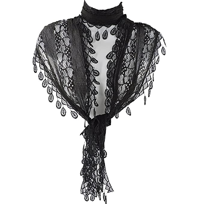 Vintage Scarves- New in the 1920s to 1960s Styles Silver Fever Elegant Vintage Skinny Lace Scarf  AT vintagedancer.com