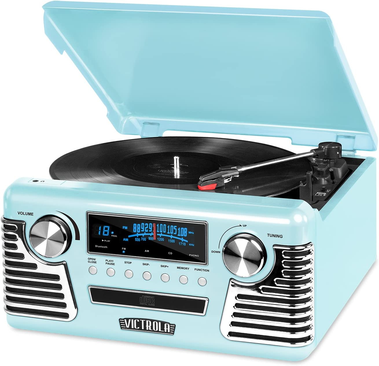 CD Player and Speakers Victrola 50/'s Retro Bluetooth Turntable with Stereo