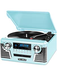 Victrola 50's Retro 3-Speed Bluetooth Turntable with Stereo, CD Player and Speakers, Teal