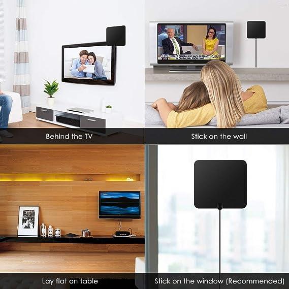 Antena de TV Edaona Antena Interior HDTV de Rango Amplificado de 60+ Millas / 95 Km con Amplificador de Señal y Amplificador Avanzado y Cable Coaxial DE 16 Pies compatible con VHF /