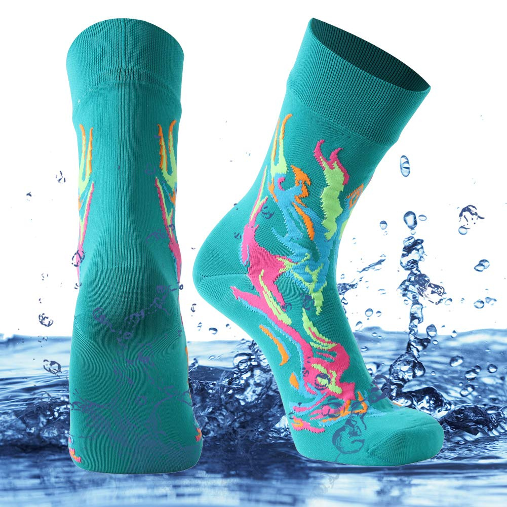 SuMade Waterproof Socks Dry Fit, Unisex Mid-calf Fashion Athletic High Performance Anti-blister Cushioned Winter Thermal Skiing Snowboarding Hiking Socks 1 Pair (Green, Small) by SuMade
