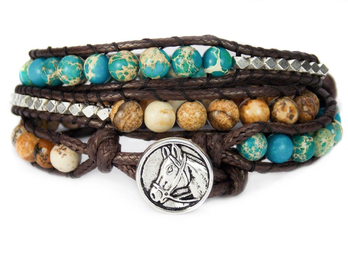 Horse Lovers Equestrian Bracelet Jasper Bead Wrap (Teal) by Carolyn Jane's Jewelry