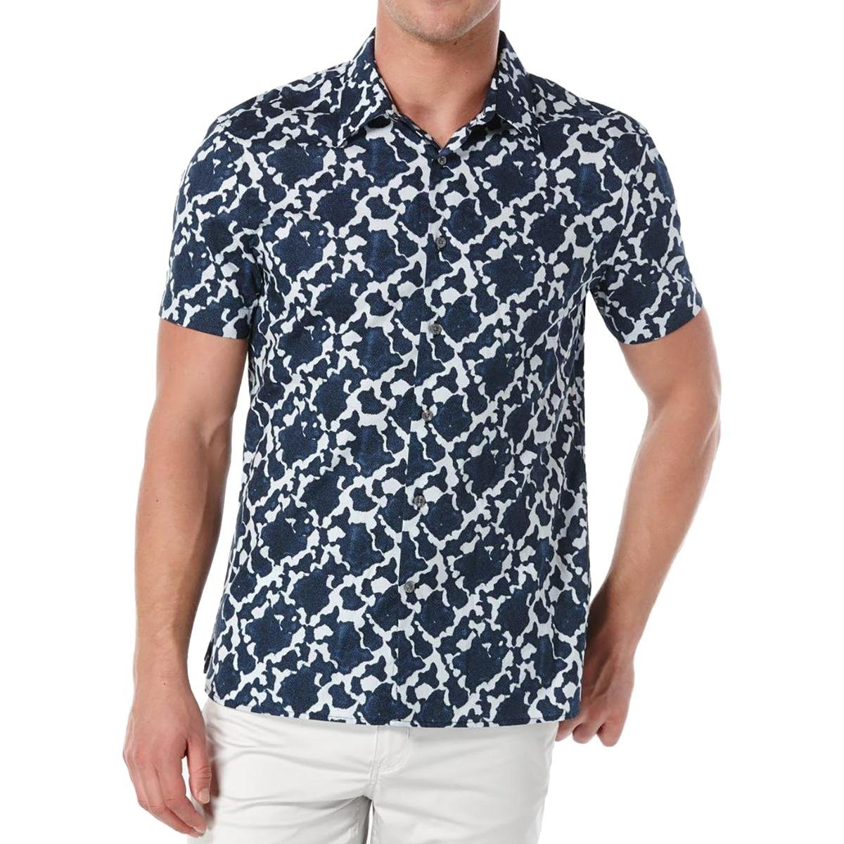 Perry Ellis Mens Exclusive Two Color Print Shirt