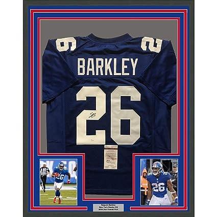 wholesale dealer 36d33 c96b9 Autographed Saquon Barkley Jersey - FRAMED 33x42 COA - JSA ...