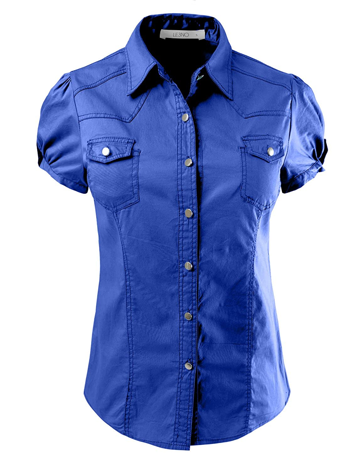 LE3NO Womens Lightweight Fitted Short Sleeve Button Down Shirt