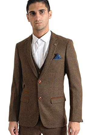 Herren Marc Darcy Designer Tan Braun Vintage Hochzeit Tweed Karo